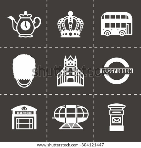 Vector London icon set on black background