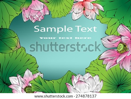 Vector lotus paintings stripes background graphics and text