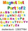 Vector Magnets Set (Part 1 of 2) - Alphabet in Small & Capital Letters - stock vector