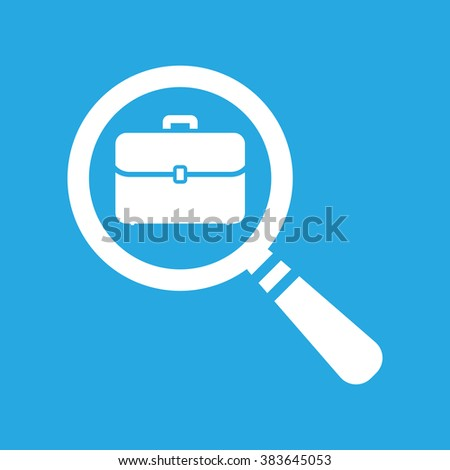 vector magnifying glass with flat portfolio briefcase icon