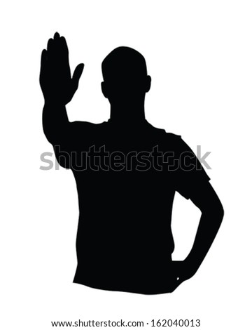 Vector man with hand up to stop