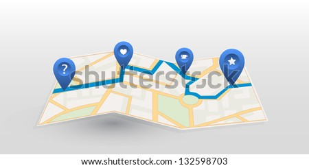 Vector map icon with blue pointer. Location