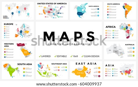 Vector Map Infographic Slide Presentation Global Business Marketing Concept Country World Transportation Infographics