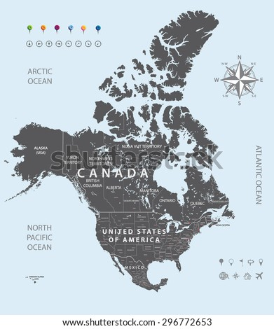 Canada Largest Cities All States Capitals Stock Vector - Capital of canada map