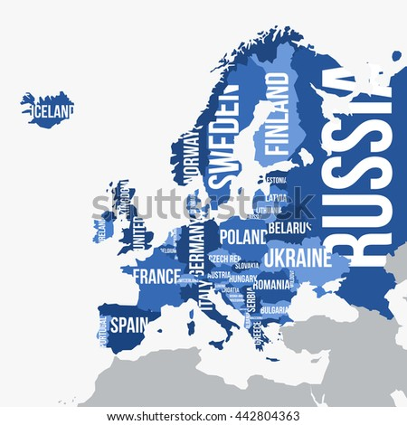 Vector map of Europe with borders and country names