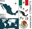 Vector map of Mexico with regions, coat of arms and location on world map - stock vector