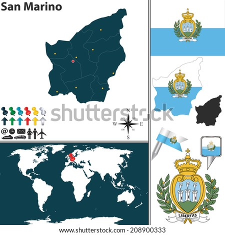San marino on world map vector map canary islands coat arms stock vector 216250228 gumiabroncs Choice Image