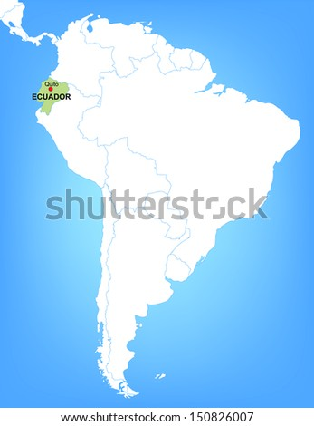 Vector Map of South America Highlighting the Country of Ecuador
