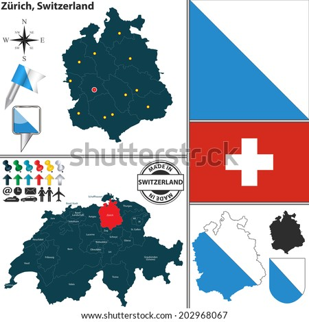 Vector Map Canton Glarus Coat Arms Stock Vector 204835591 Shutterstock