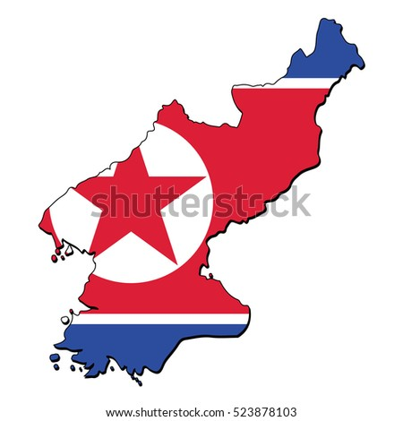 Vector map of the flag of the North Korea