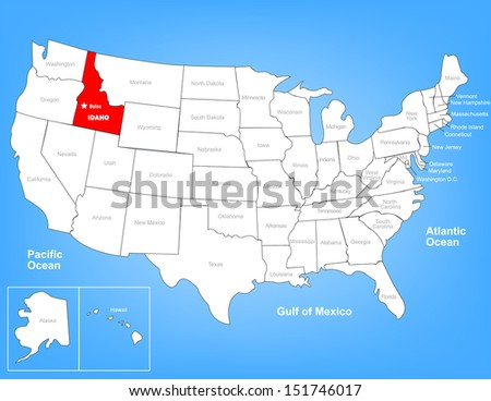 Vector Map United States Highlighting State Stock Vector 151763681
