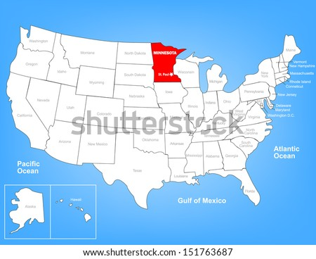 Vector Map United States Highlighting State Stock Vector - Us alaska hawaii no states vector map