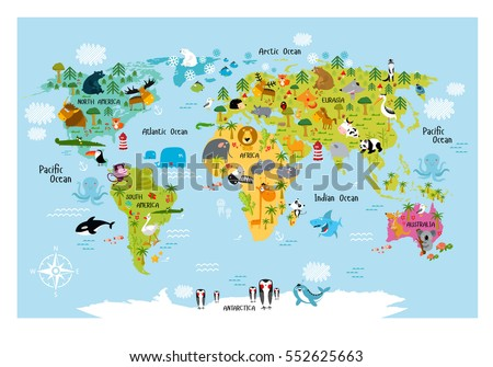 Vector Map World Countries America Eurasia Stock Vector - Australian map of the world