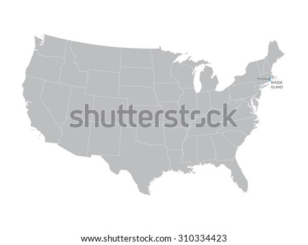 Vector Map Of United States With Indication Of Rhode Island