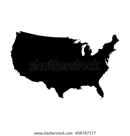 United States Americausa Black Mapborder Name Stock Vector - Us map eps