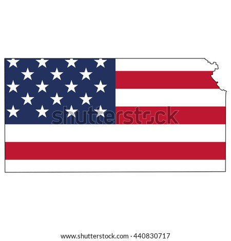 Vector Map With Us Flag Inside Of Kansas