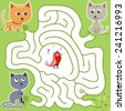 Vector maze game: funny red bird find the way from the cats trap - stock vector