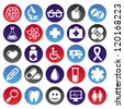 Vector medical icons and signs - circle buttons - stock vector