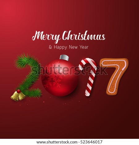 Vector Merry Christmas and Happy New Year 2017 greeting card Label Decorated with Colored Baubles, Stars and Cookies