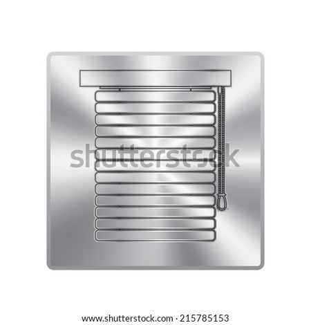 Vector metal button with Louvers sign icon. Window blinds or jalousie symbol.