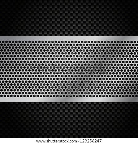 Vector Metal Grill on Carbon Fiber Background - Eps10