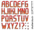 Vector metal RED color font PArt 1/2 Full ABC A-z - stock photo