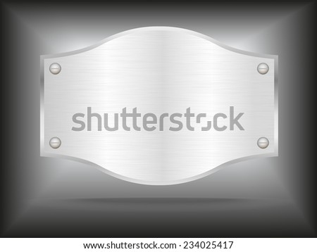 Vector metal steel plate with screws.Vector illustration