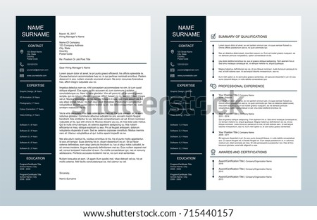 Vector Minimalist Creative Cover Letter And One Page Resume/CV Template  Resume Cv Template
