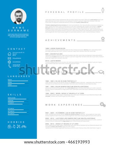 vector minimalist cv resume template with nice typogrgaphy design blue and white simple curiculum