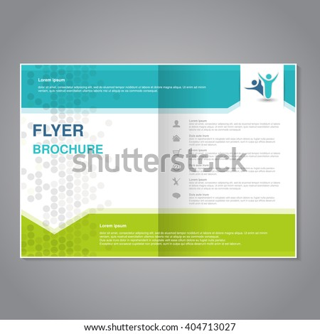 Vector modern brochure, abstract flyer with simple dotted design. Layout template with arrows. Aspect Ratio for A4 size. Poster of turquoise, green, grey and white color. Magazine cover.