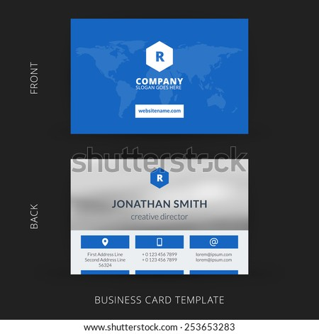 Creative Clean Doublesided Business Card Template Stock Vector - Website business card template