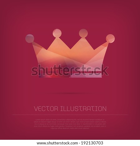 Vector modern crown icon with colorful trendy polygonal texture