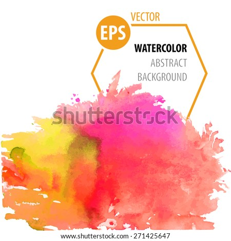 Vector modern painting bright yellow and pink abstract watercolor background design on canvas or paper