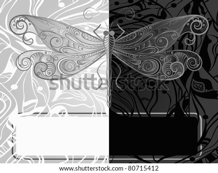 vector monochrome concept   dragonfly, vintage style, eps10
