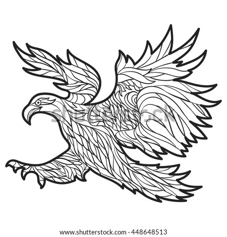 Vector Monochrome Hand Drawn Illustration Of Eagle Coloring Page With High Details Isolated On White