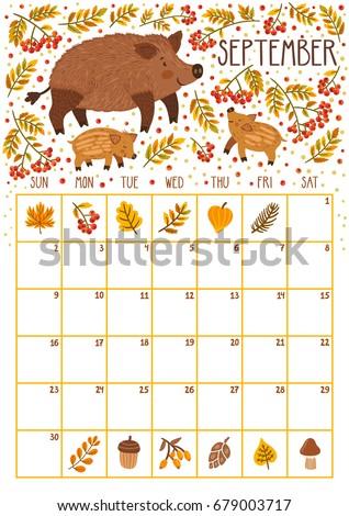Vector Monthly Calendar Cute Rabbit June Stock Vector ...