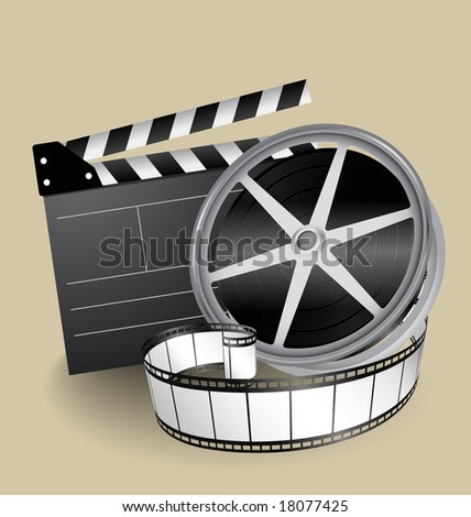 vector movie equipment - film strip, clapper and film roller