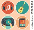 Vector music icons and signs in flat style - headphones, guitar, turntable and mp3 player - stock vector