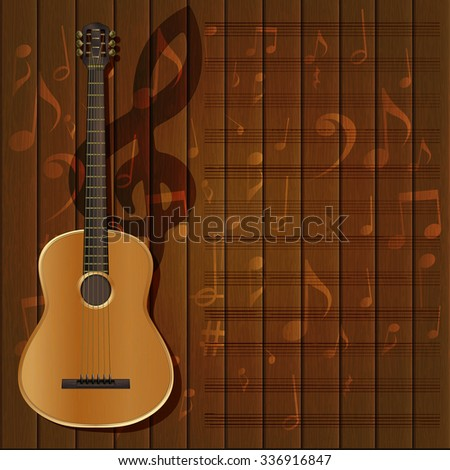 Vector Musical Background Frame Guitar Treble Stock Vector ...