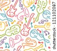 Vector musical instruments seamless pattern background with hand drawn elements. - stock photo