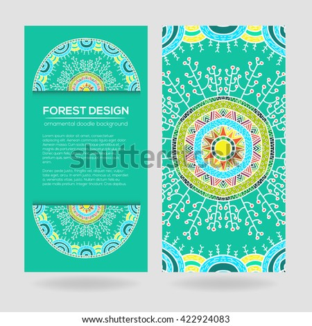 Vector nature seamless pattern with forest. Vector round mandala in childish style. Ornamental doodle background.