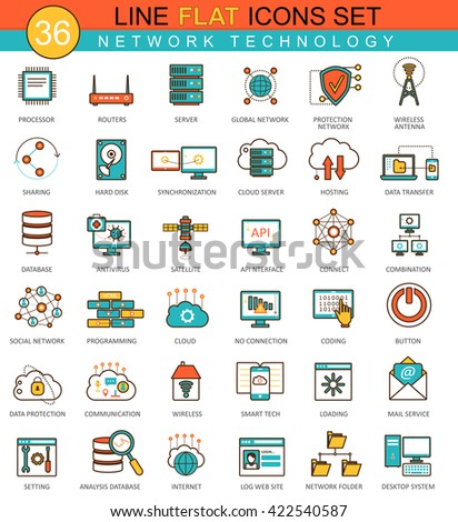 Vector Network technology flat line icon set. Modern elegant style design for web.
