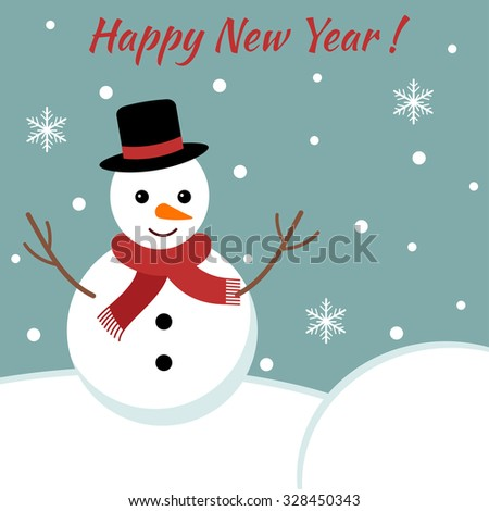 Vector new year card with cute snowman