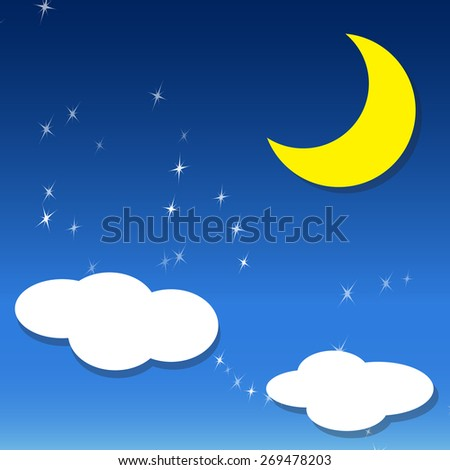 vector night sky, crescent Moon ,two white cloud and stars , Isolated object