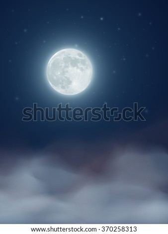 Vector night sky with full moon and clouds
