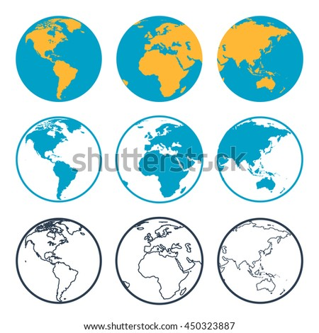 Vector nine planet globe with different sides in flat style and outline thin icon. View to America, Africa and Asia