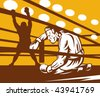 vector of a Boxer down on his hunches after a knockout - stock photo