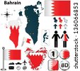 Vector of Bahrain set with detailed country shape with region borders, flags and icons - stock vector
