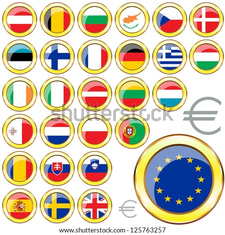 Vector of buttons with flags of the 27 members of the European Union.