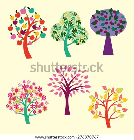 Vector  of  Different beautiful trees collection isolated on white background . Nature background